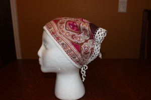 My finished Head Kerchief created from upcycled fabric.