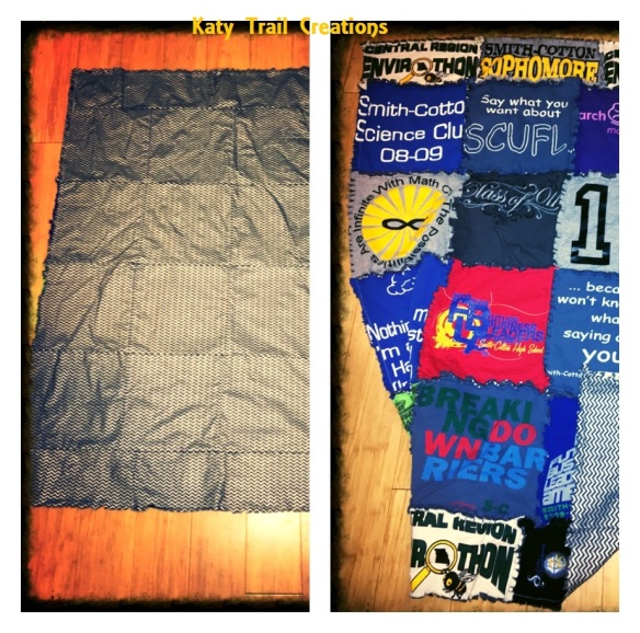 front back view rag quilt