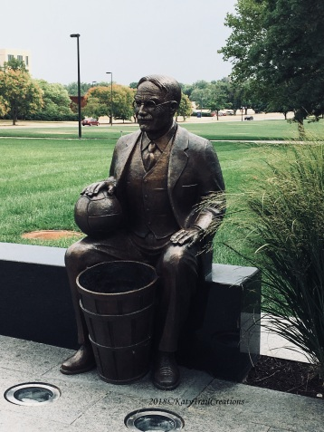 James Naismith complete with 'baskets'