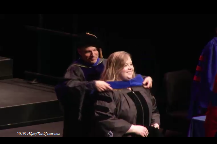 The hooding of Dr. Alex at the University of Kansas, May 18, 2019