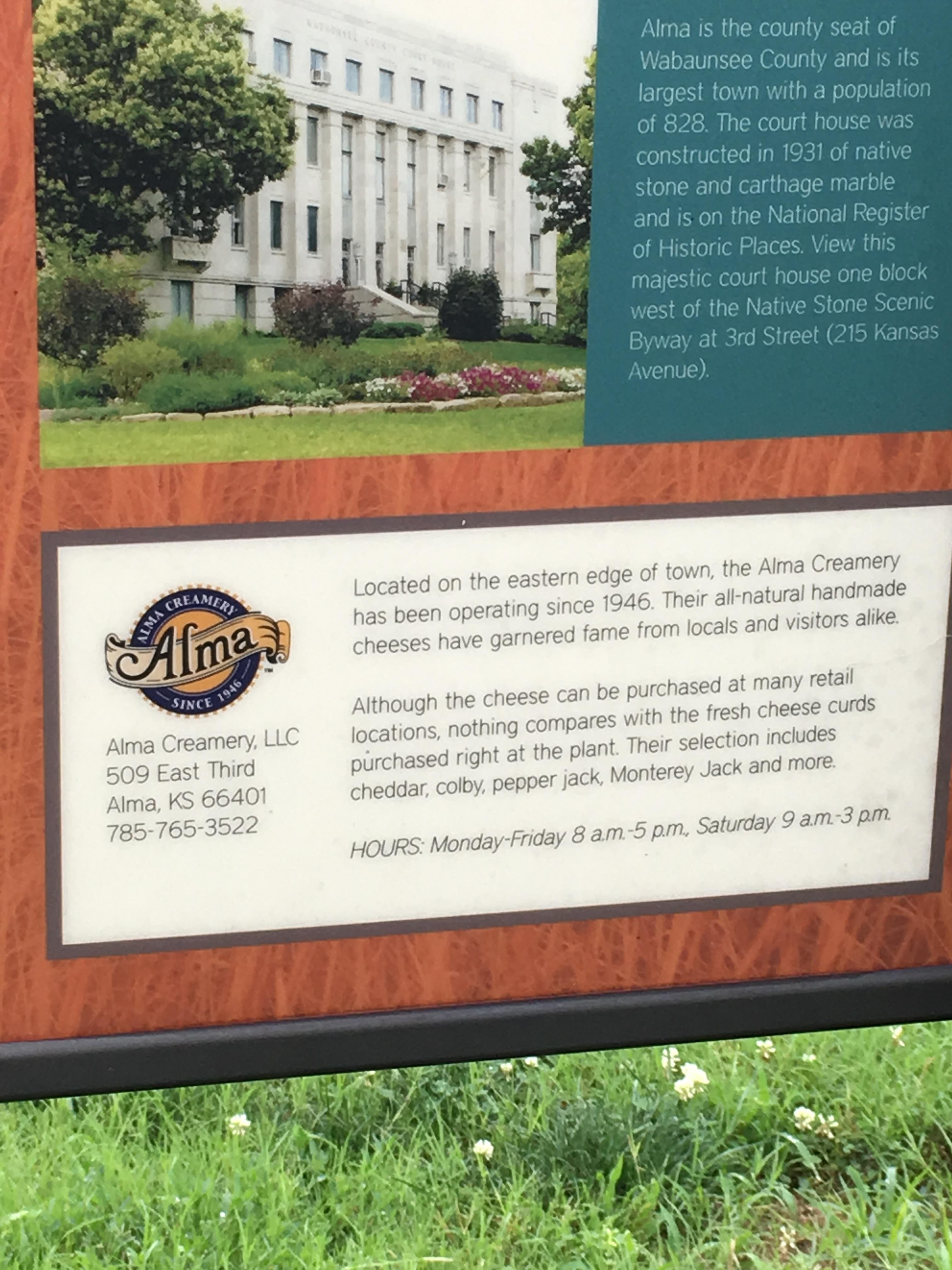 Alma Creamery Information