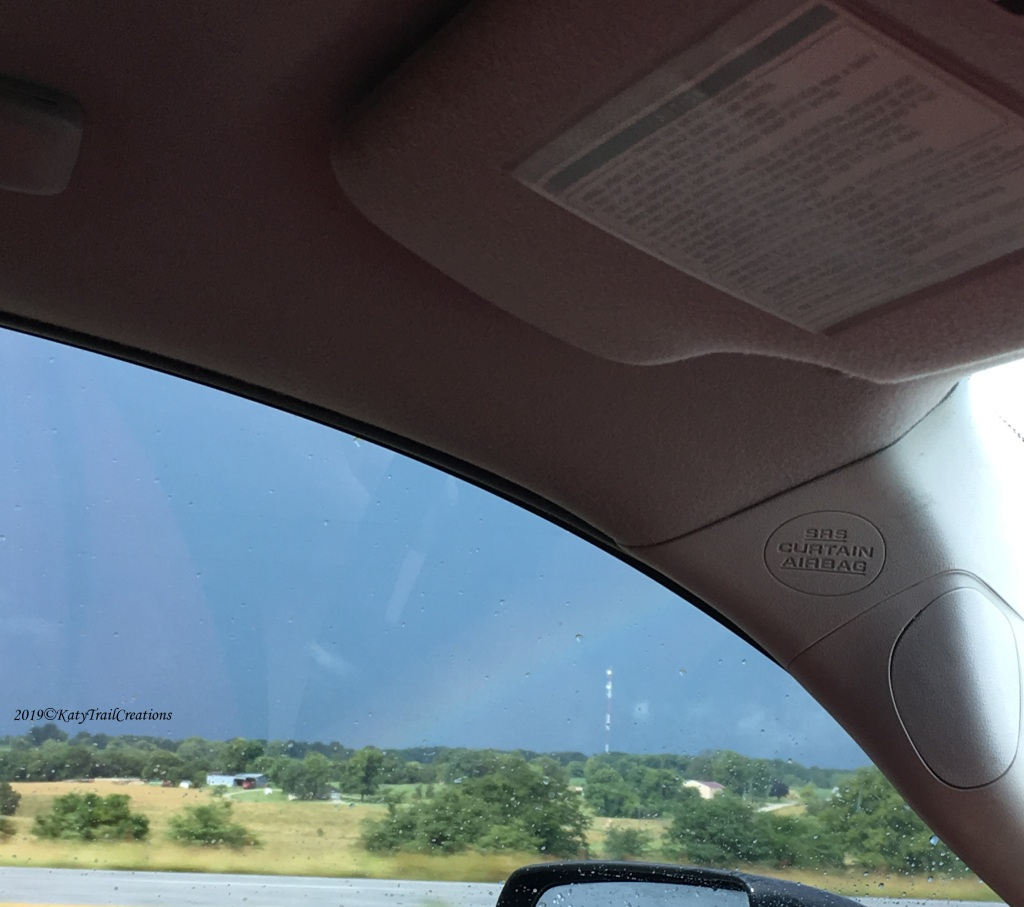 Out the window we caught a glimpse of this rainbow.  Bye Bye rain!