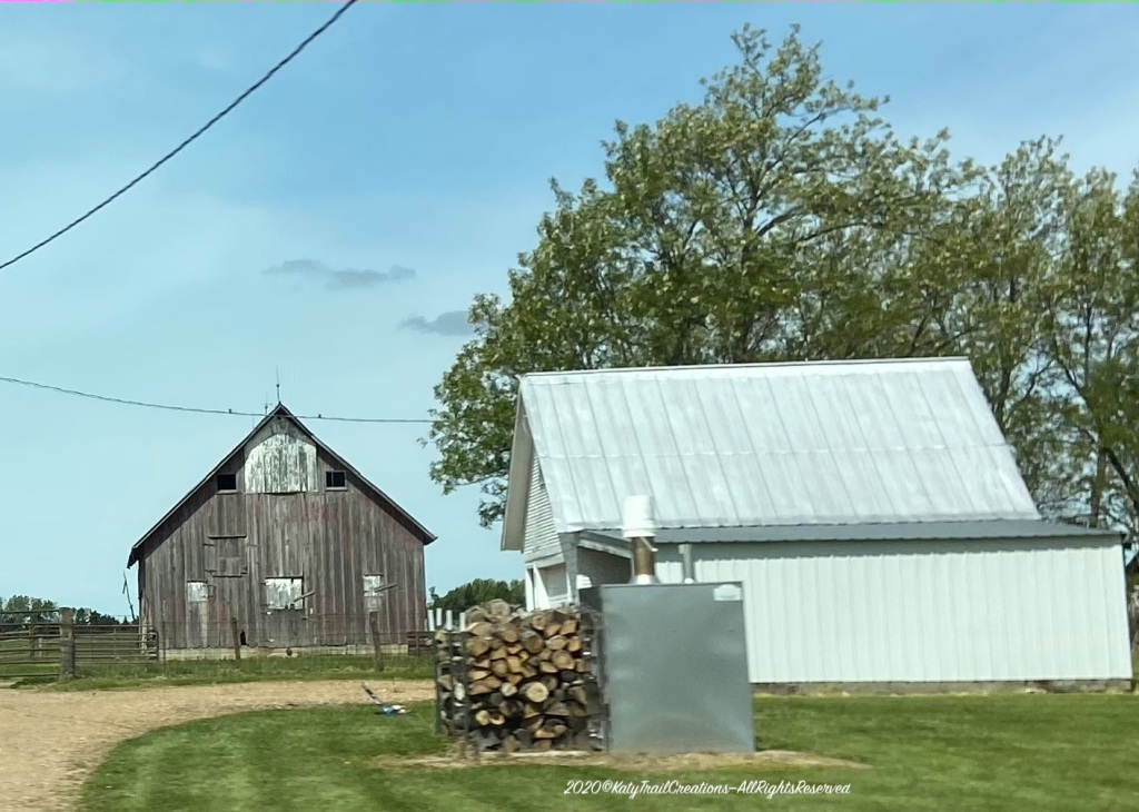 The Old Barn out past the woodpile used to be white-washed by the looks of it.